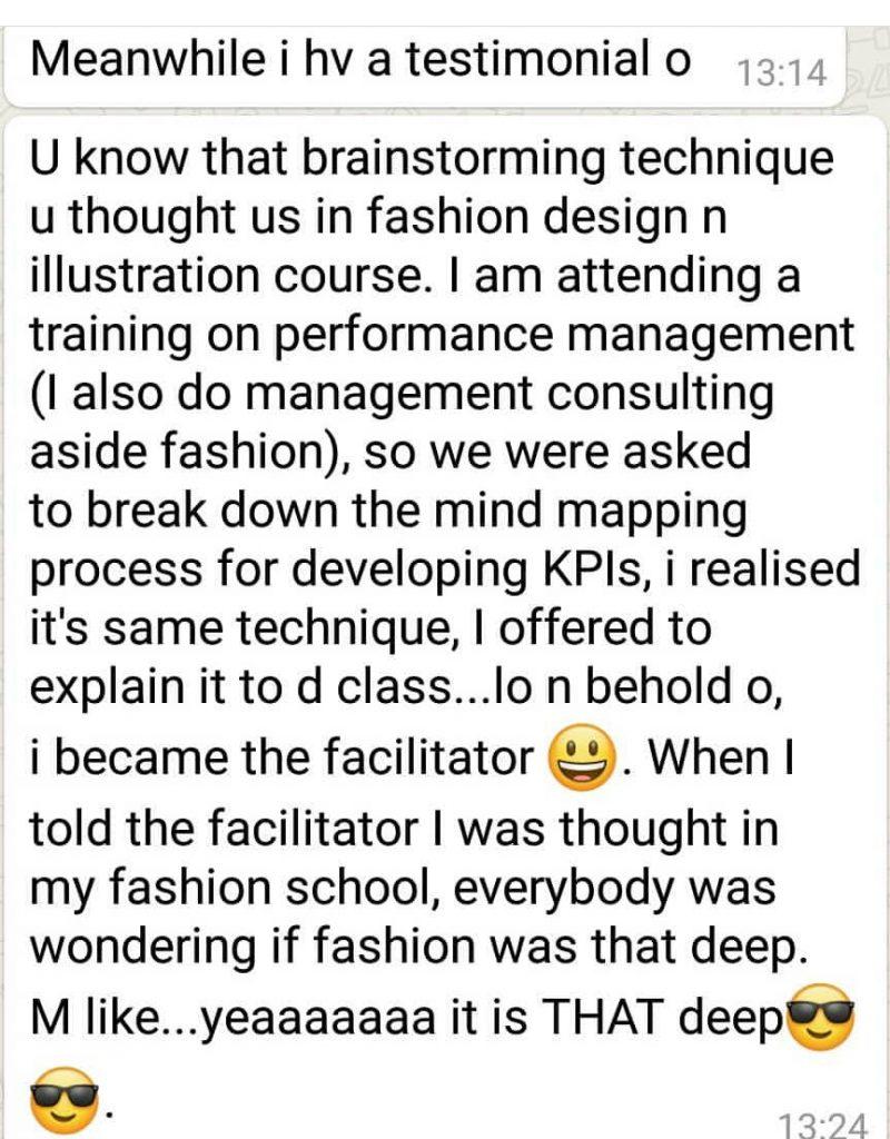 Testimonial on Martwayne Fashion Illustration Course