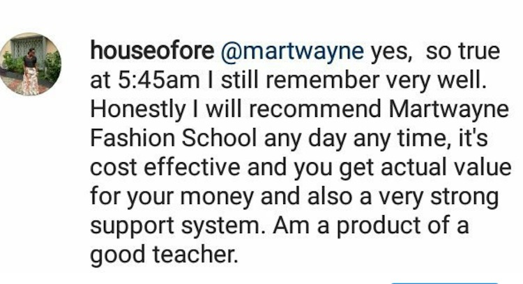 house of ore testimonial - Martwayne dressmaking course