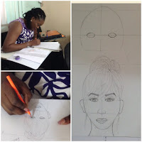 Student learns to sketch faces